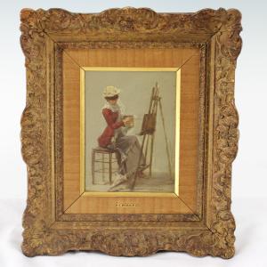 Merveilleux Jean Beraud Original Oil Painting Jeune Femme Peignant