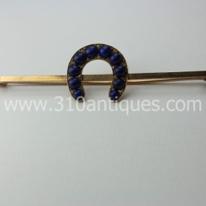 14KT Gold Equestrian Brooch with Horsehoe and Cabochon Lapis  (2)