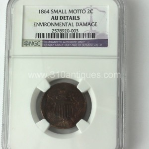 1864 Small Motto 2c two cent NGC AU Details Obverse