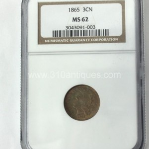 1865 3CN Cent Nickel NGC MS62 Uncirculated Obverse