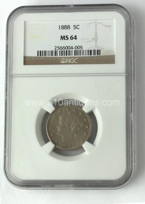 1888 5c Liberty Nickel NGC MS64 Obverse