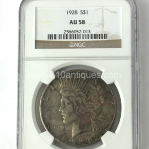 1928 P Peace Dollar Silver NGC AU58 Obverse