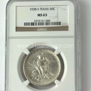 1938 S Texas 50c Half Dollar Commemorative NGC MS63 Obverse