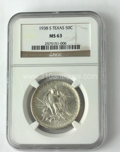 1938 S Texas 50c Half Dollar Commemorative NGC MS63 Obverse