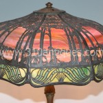 Antique Handel Tropical Scenic Overlay Lamp  (2)