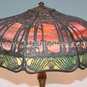 Antique Handel Tropical Scenic Overlay Lamp  (2)