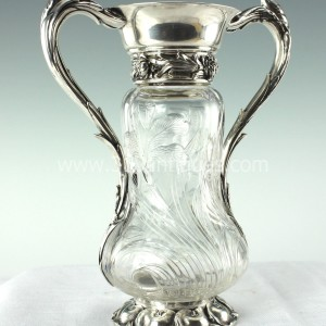 During Sterling Vase with Hawkes Rock Crystal Iris Decorated Body (3)