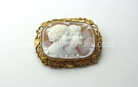 Edwardian Arts and Crafts Style Signed Cameo Brooch Two Women Setting Sun  (2)
