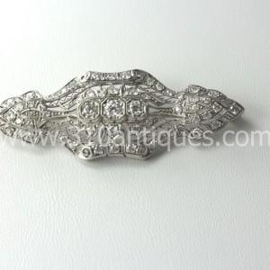 Edwardian Platinum Filigree Diamond Brooch