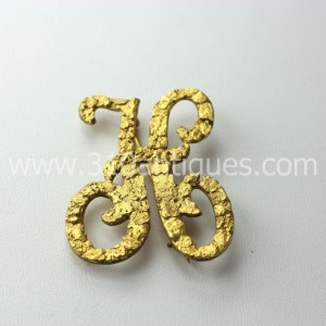 Gold Rush Era Brooch Gold Nugget Script Letter H (2)