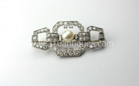 Art Deco Platinum Diamond Pearl Brooch