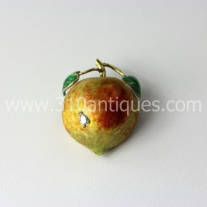 Mid Century Enameled Diamond 14kt Gold Apple Pin