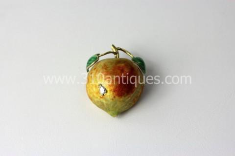 Mid Century Enameled Diamond 14kt Gold Apple Pin
