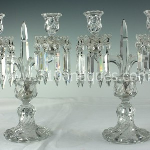 Pair Baccarrat two arm candelabra with Provenance (2)