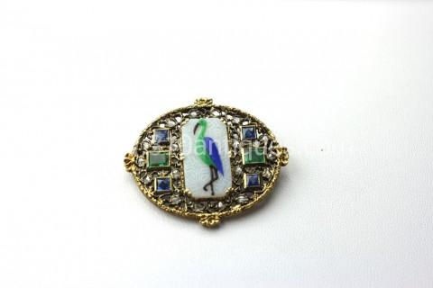 Pate de Verre  Diamond Sapphire and Emerald Stork Brooch(2)