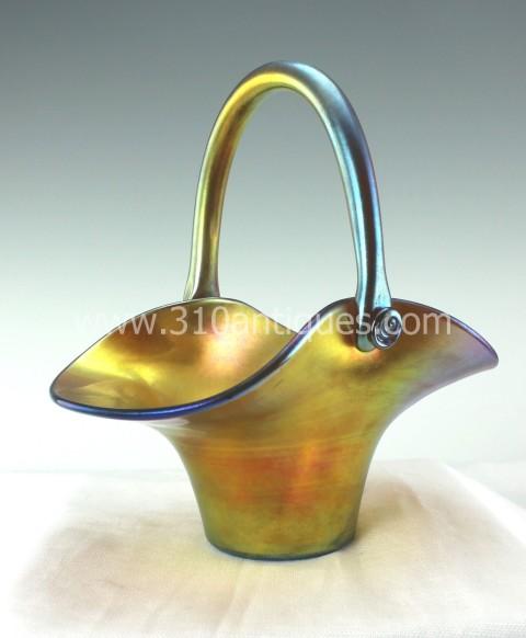 Steuben Gold Aurene Basket Shape Number 453 (3)