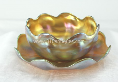 Tiffany Studios Favrile Art Glass  Bowl and Underplate Gold iridescent 2 (2)