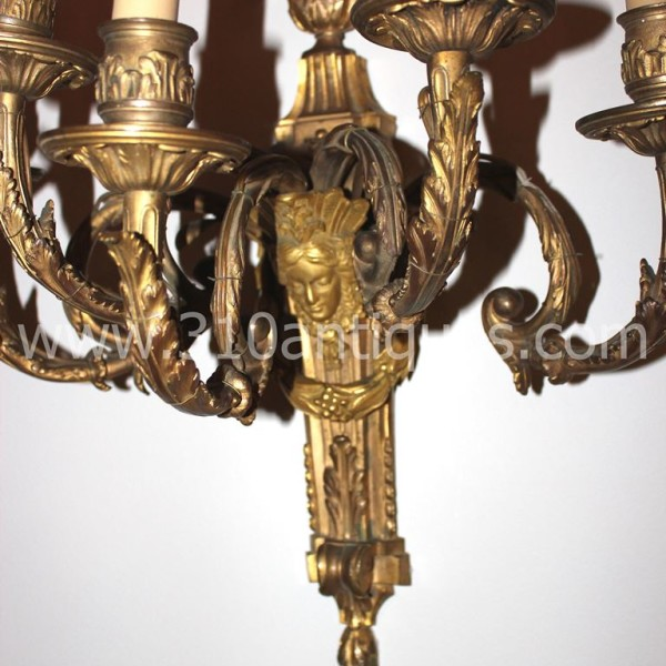 bronze dor 5 arm figural wall sconce electrified c