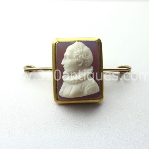 Victorian Hardstone Cameo William Shakespear 14KT Gold (1)