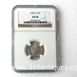 1907-s Barber Dime NGC AU58 (2)