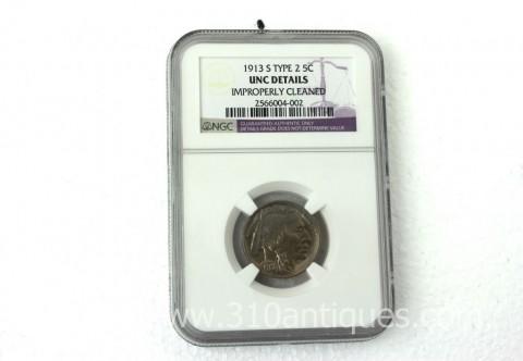 1913-S T2 Buffalo Nickel NGC Unc Details (2)
