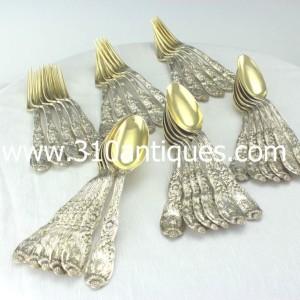 Antique Tiffany Silver Chrysanthemum Pattern Vermeil Dessert Service (2)
