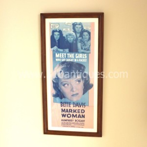 Bette Davis Humphrey Bogart Marked Woman movie poster Insert