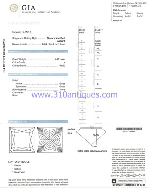 GIA Certified Diamond Princess Cut H Color VVS2 Clarity 1.06 Carat