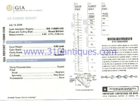 GIA Certified Round Brilliant Diamond G Color VS2 Clarity .38 Carat