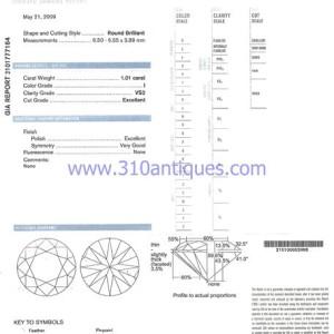 GIA Certified Round Brilliant Diamond I Color VS2 Clarity 1.01  Carat