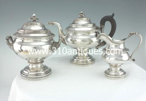 American Federal Coin Silver Tea Set Fletcher and Gardiner Philadelphia (2)