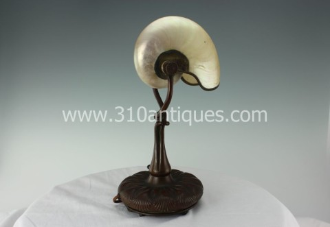 Antique Tiffany Studios Lamp Bronze with Nautilus Shell Art Nouveau (2)