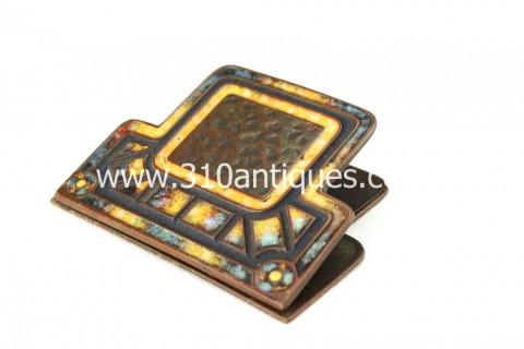 Tiffany Art Deco Pattern Desk Clip Bronze and Enamel 373 (1)