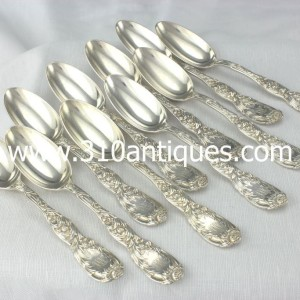 Tiffany Chrysanthemum Pattern Sterling Silver Dessert Spoons (2)