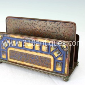 Tiffany Furnaces Incorporated Art Deco Pattern Bronze and Enameled Letter Rack 370 (2)