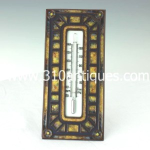 Tiffany Glass and Decorating Company Art Deco Pattern Desk Thermometer 364 Bronze and Enamel (2)