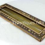 Tiffany Studios Art Deco Pattern Blotter Ends 355B Bronze and Enameled (2)