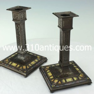 Tiffany Studios Art Deco Pattern Candlesticks Enameled and Bronze 368 (2)