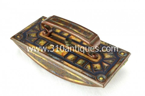 Tiffany Studios Art Deco Pattern Ink Blotter Bronze and Enameled (2)