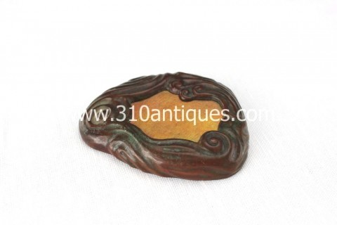 Tiffany Glass and Decorating Company Bronze and irridescent Favrile Glass Scroll Paperweight 932 (2)