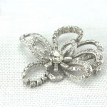 14Kt White Gold and Diamond Mid Century Ribbon Brooch
