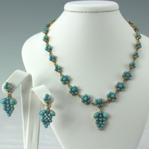 14kt gold and persian turquoise suite necklace and earrings