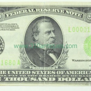 1934 $1000 Federal Reserve Note Light Green Seal Federal Reserve Bank of San Francisco (2)